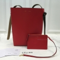 Replica Celine Small Twisted Cabas in Chili and Pale Pink Calfskin