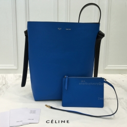 Replica Celine Small Twisted Cabas in Green Smoke and Electric Blue Calfskin