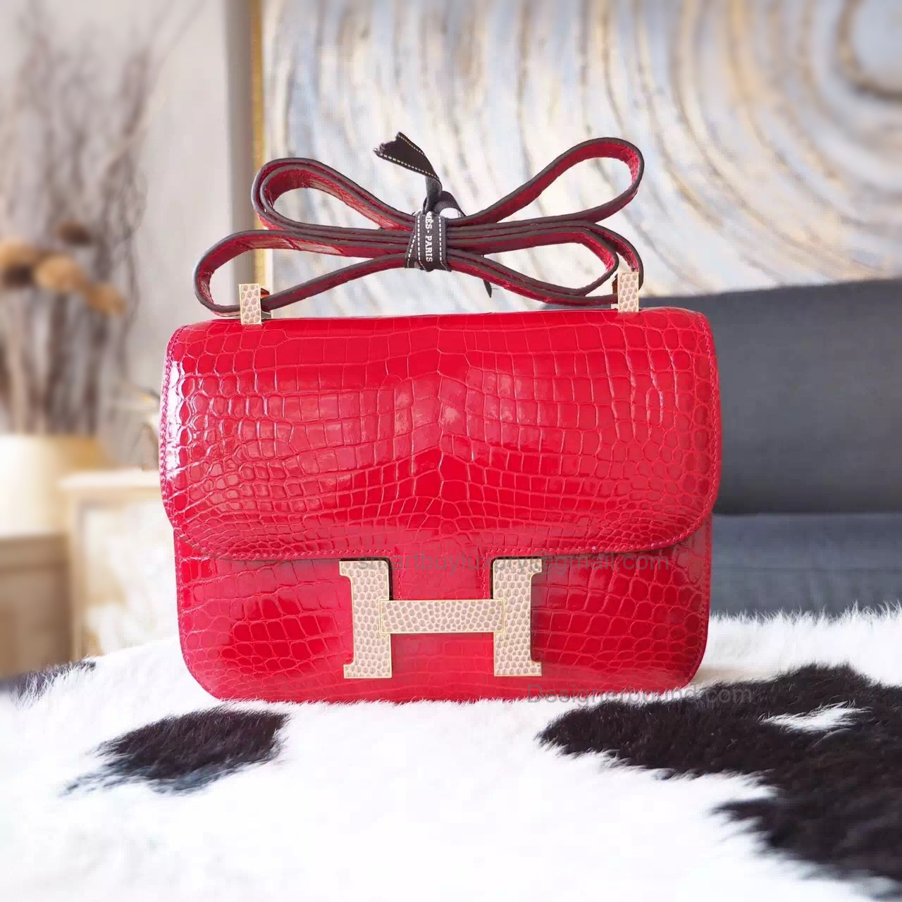 Replica Hermes Constance 23 Bag in ck55 Rouge H Niloticus Shining Crocodile