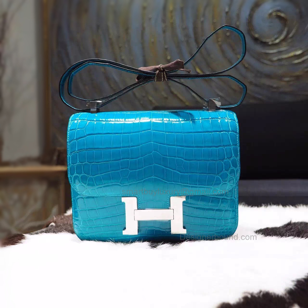 Replica Hermes Constance 23 Bag in 7w Blue Izmir Niloticus Shining Crocodile
