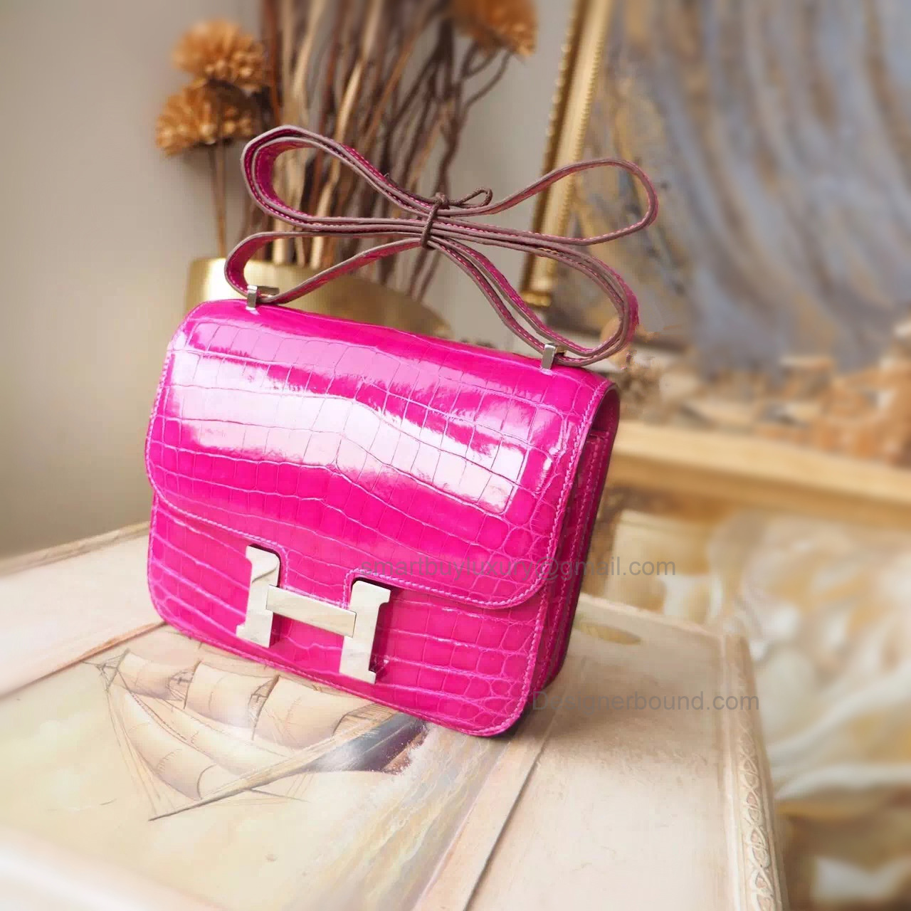 Hermes Mini Constance 18 Bag in j5 Rose Scheherazade Shining Nile Croc PHW