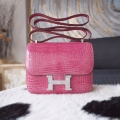 Copy Hermes Mini Constance 18 Bag in 5j Fuschia Pink Shining Porosus Croc PHW