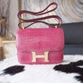 Copy Hermes Mini Constance 18 Bag in 5j Fuschia Pink Shining Porosus Croc GHW