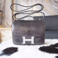 Hermes Mini Constance 18 Bag Hand Stitched in ck88 Graphite Shining Croc PHW