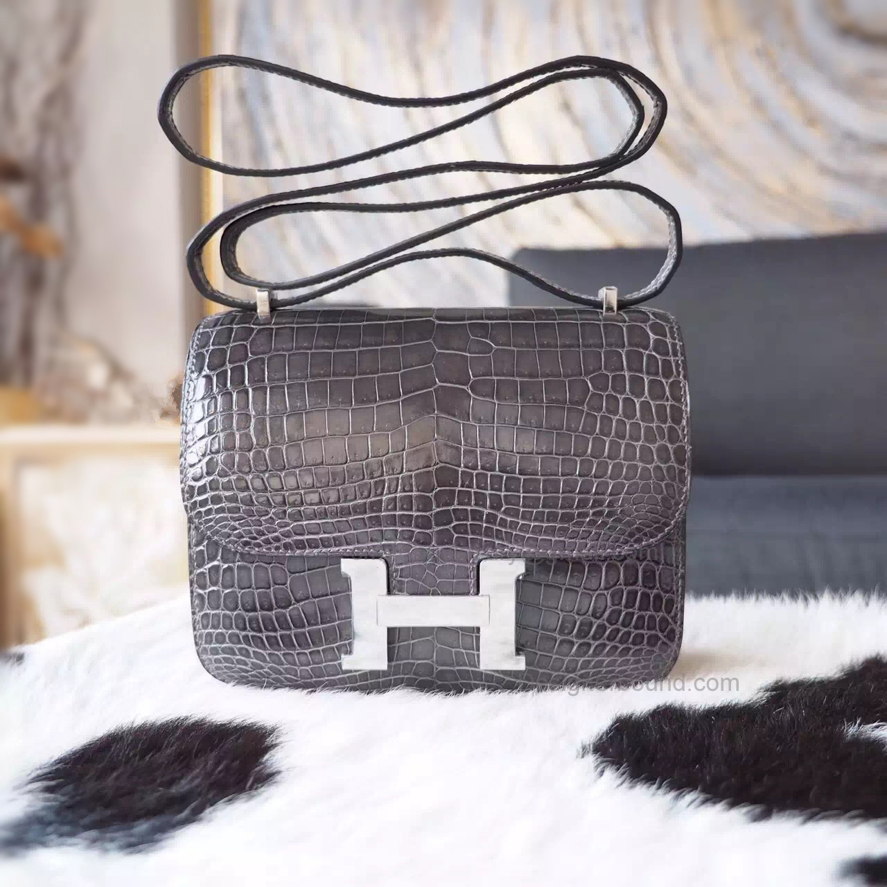 07b3825c8c ... low price hermes mini constance 18 bag hand stitched in ck88 graphite  shining croc phw 46575