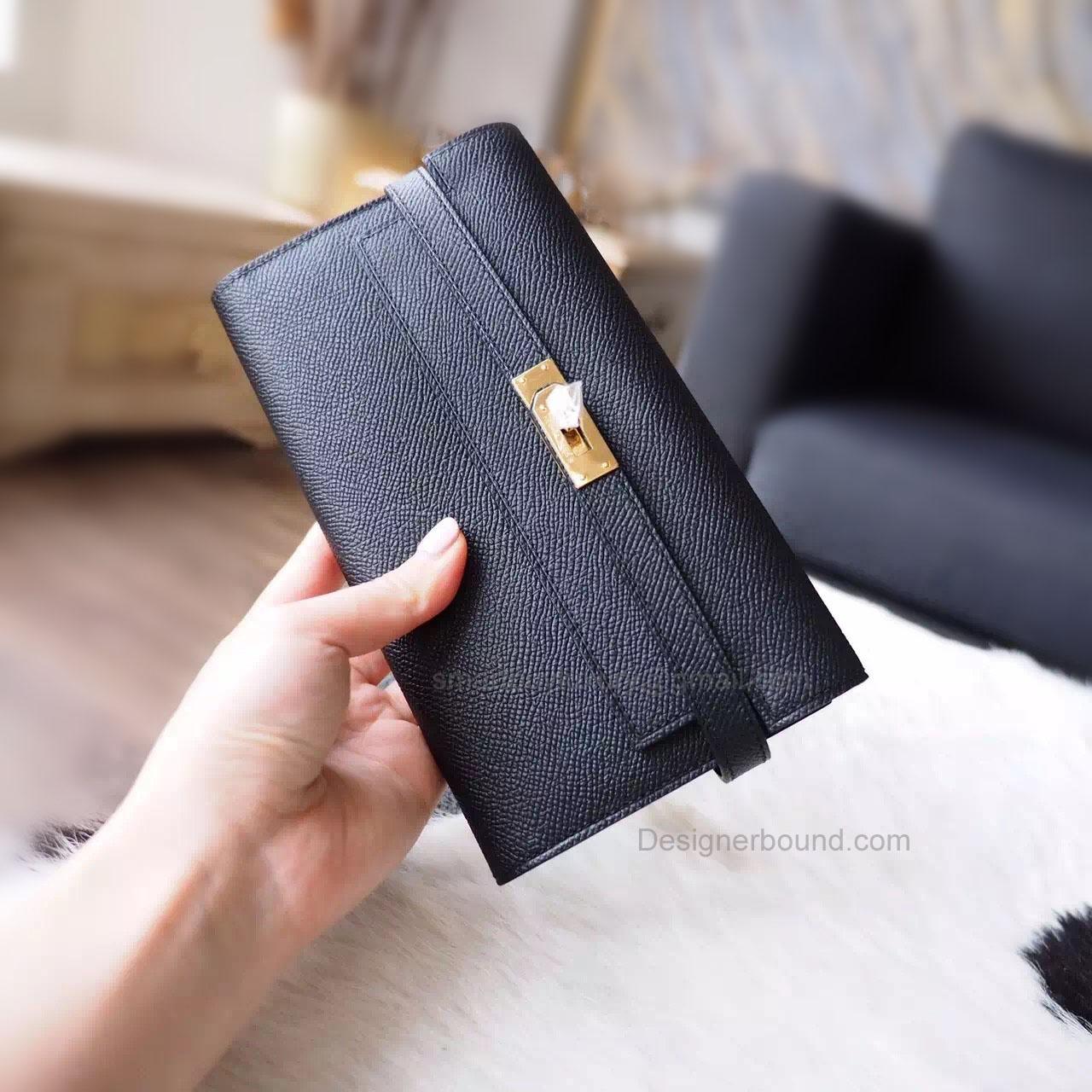3e1e4c6c33ab Hermes Kelly Long Wallet Handmade in ck89 Noir Epsom Calfskin GHW