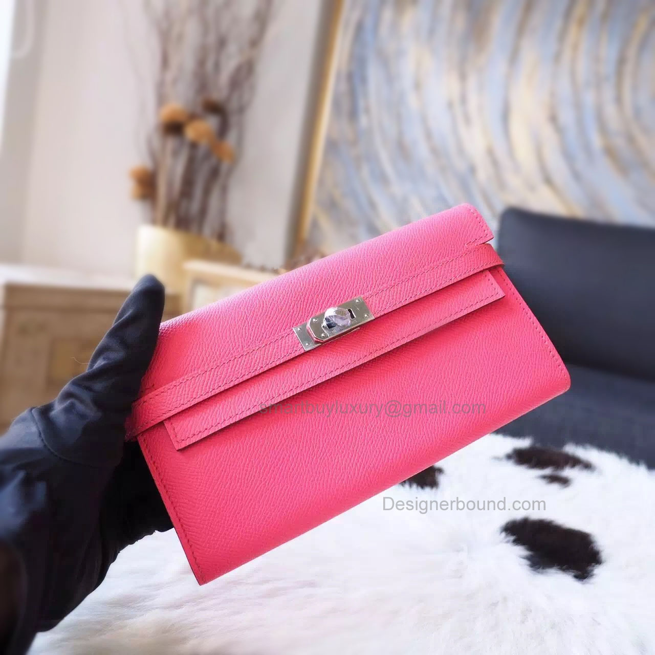 Hermes Kelly Long Wallet Handmade in 8w Rose Azalee Epsom Calfskin PHW