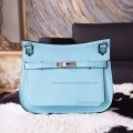 Handmade Hermes Jypsiere 28 Copy Bag in 3p Blue Atoll Clemence Calfskin