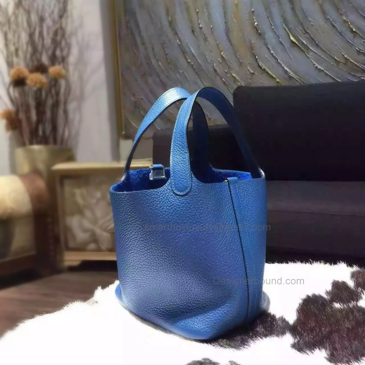 Replica Hermes Picotin Lock 22 Bag Handmade in s7 Blue de Galice Clemence