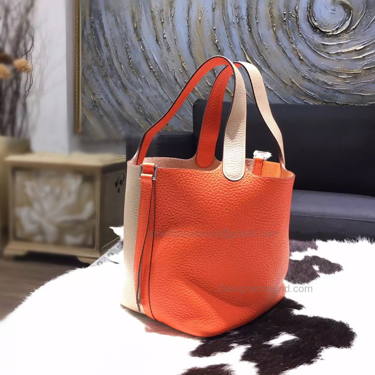 Replica Hermes Picotin Lock 22 Bag Handmade in Bicolored cc93 Orange Clemence