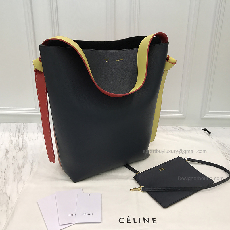 Celine Small Twisted Cabas in Midnight Blue and Brown Grained Calfskin