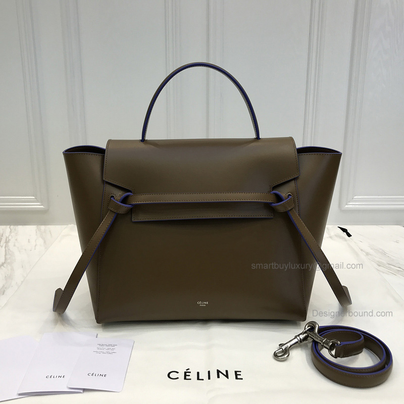 Replica Celine Mini Belt Bag in Khaki Textured Calfskin with Blue Piping