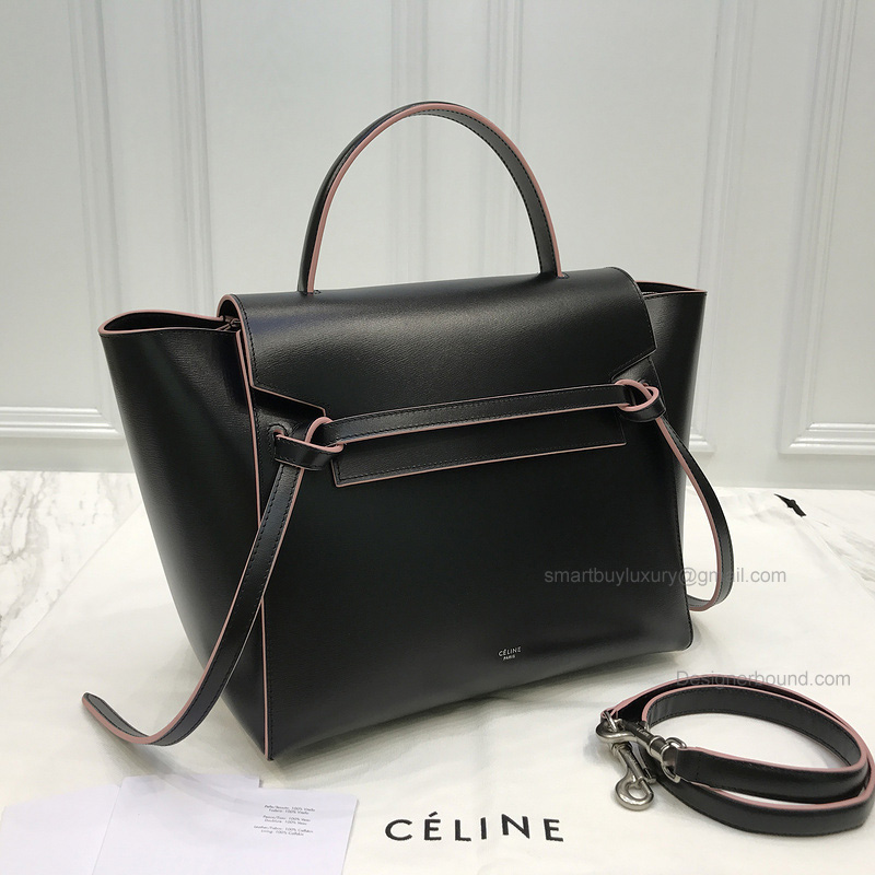 Replica Celine Mini Belt Bag in Black Textured Calfskin with Pink Piping