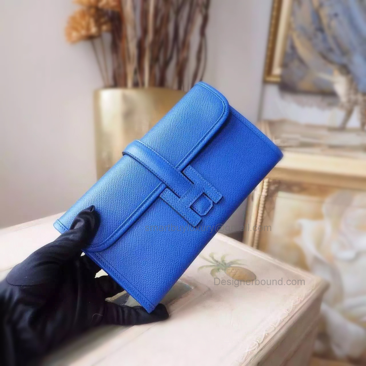 Copy Hermes Jige Mini Clutch Handmade in Blue Electric 7t Epsom Calfskin