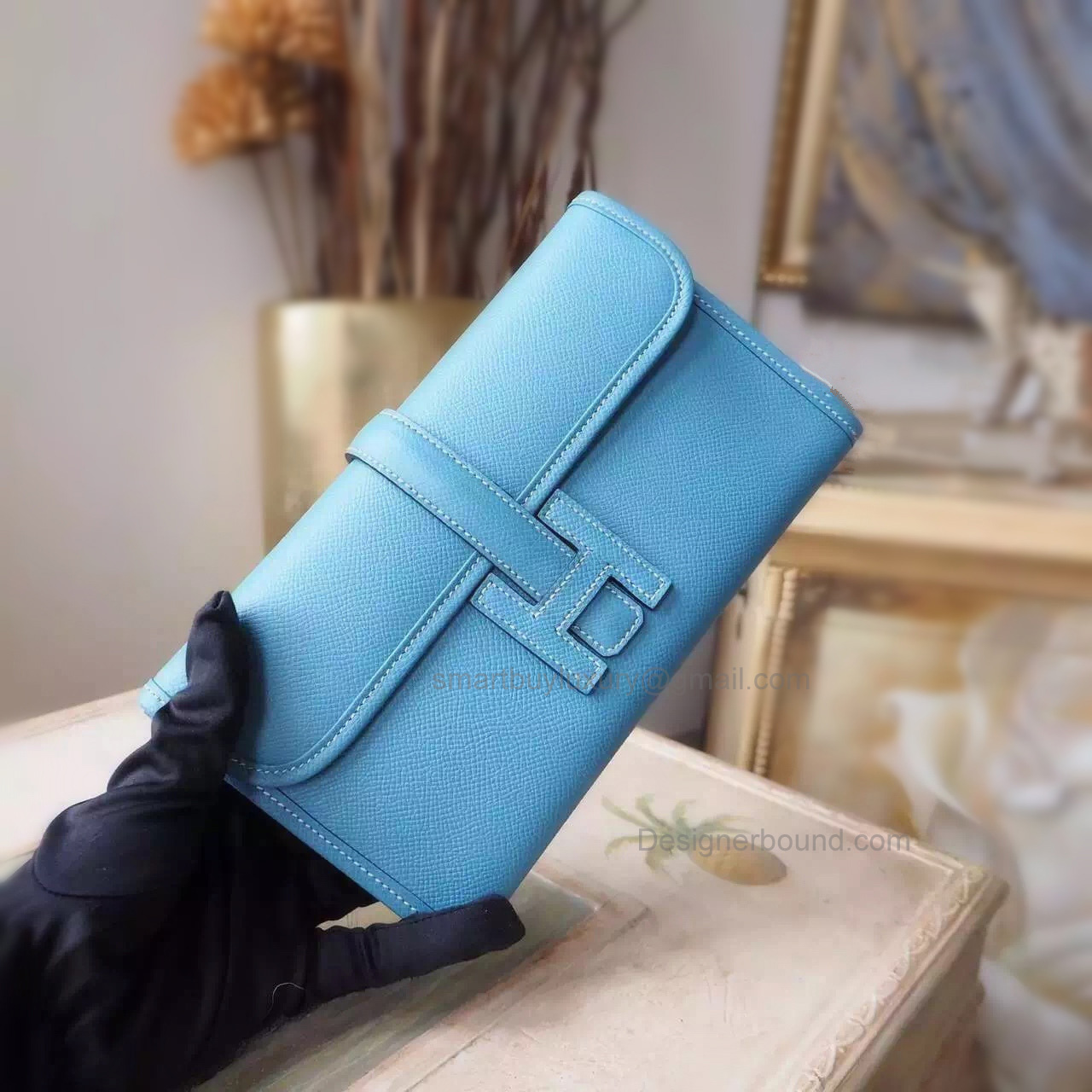 Copy Hermes Jige Mini Clutch Handmade in Blue Jean ck75 Epsom Calfskin