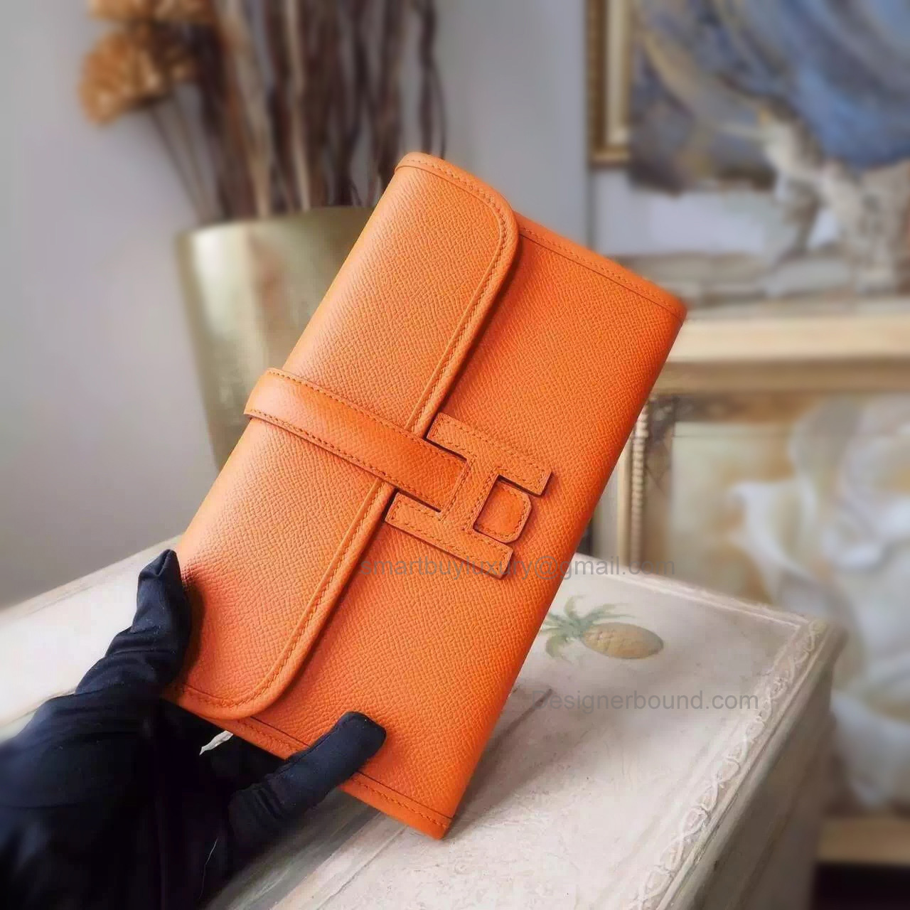 Copy Hermes Jige Mini Clutch Handmade in Orange ck93 Epsom Calfskin