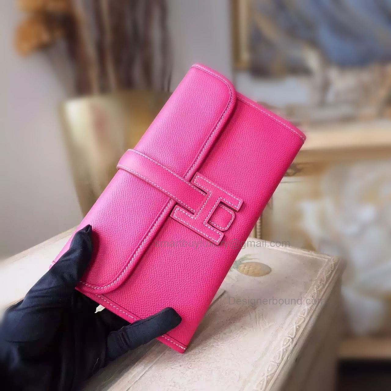 Copy Hermes Jige Mini Clutch Handmade in Rose Tyrien e5 Epsom Calfskin