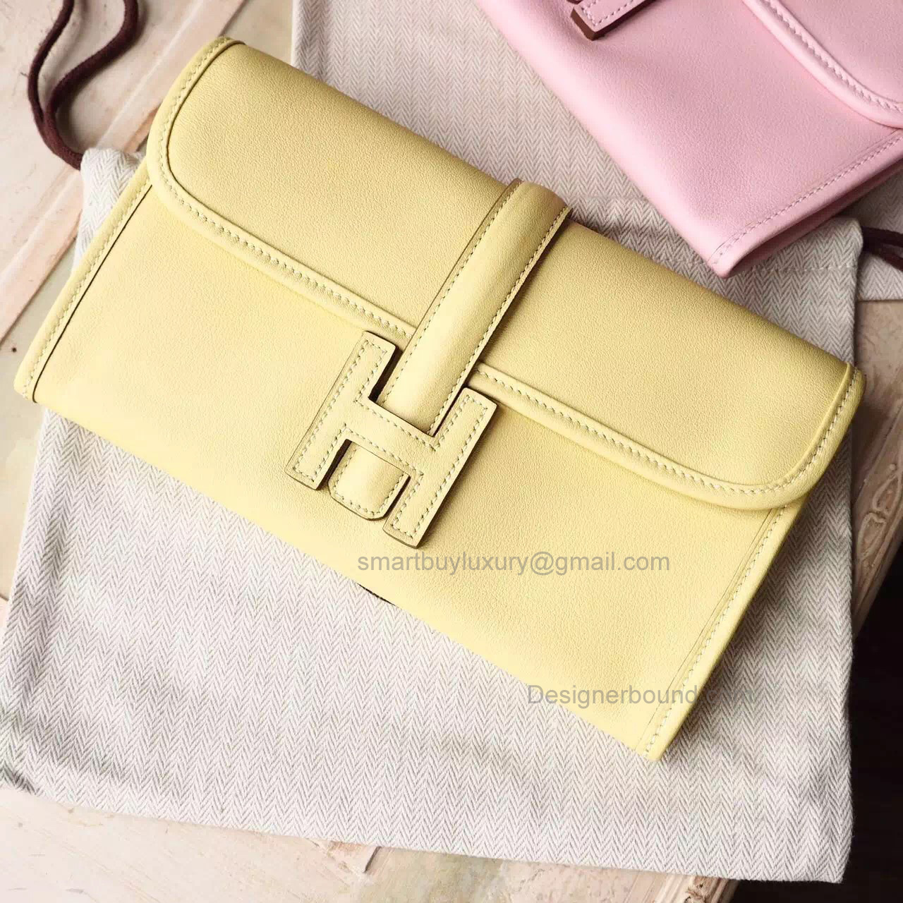 Copy Hermes Jige Duo Mini Clutch Handmade in Jaune Poussin 1z Swift Calfskin