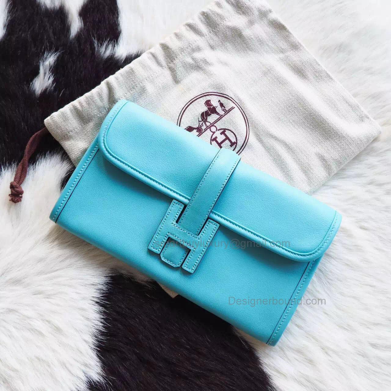 Copy Hermes Jige Duo Mini Clutch Handmade in Atoll Blue 3p Swift Calfskin