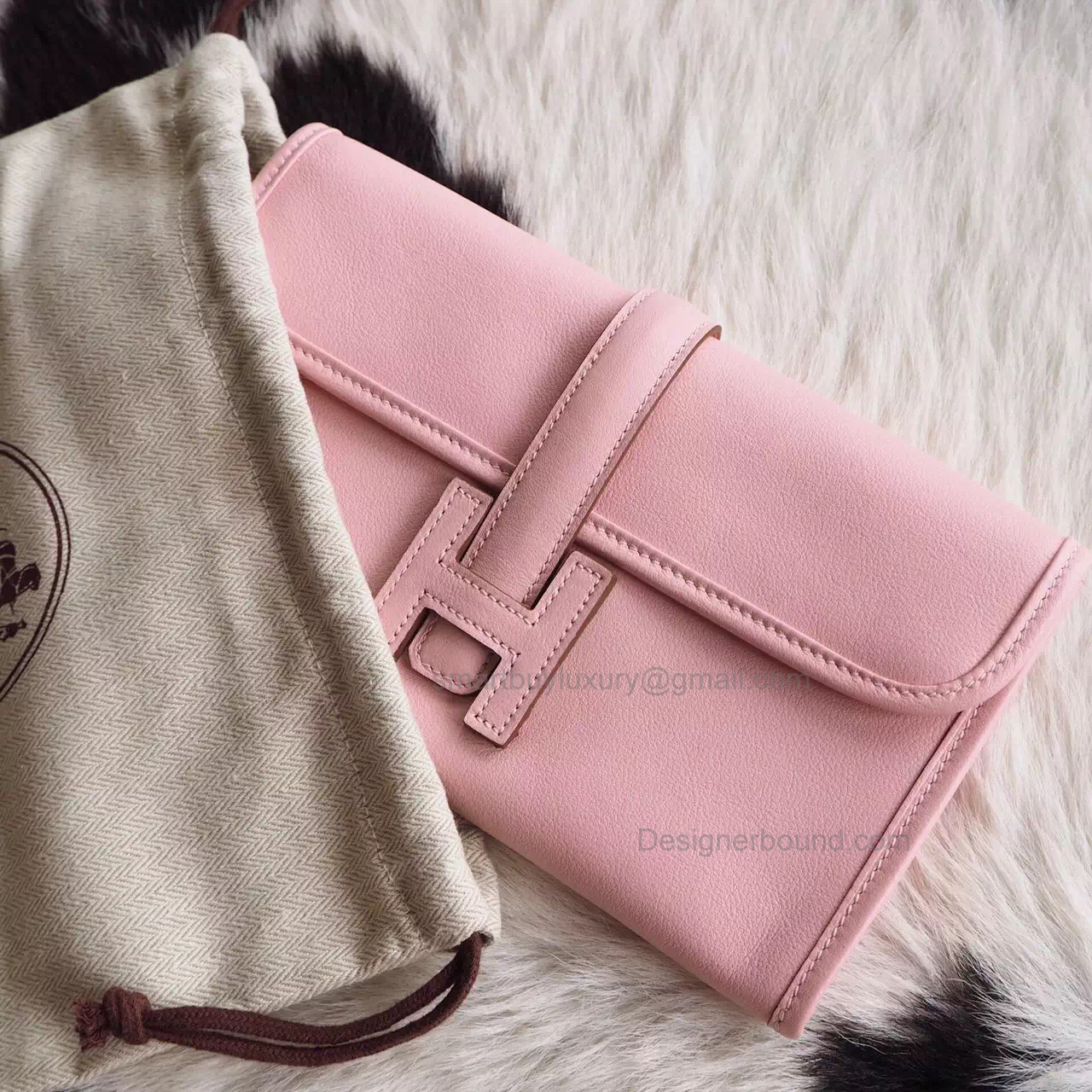 Copy Hermes Jige Duo Mini Clutch Handmade in Rose Sakura 3q Swift Calfskin