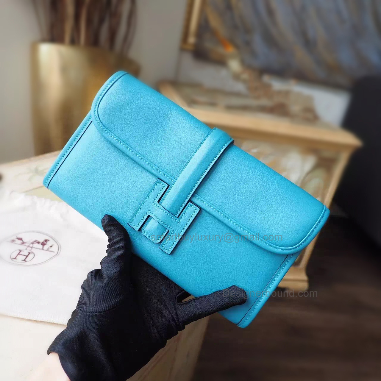 Copy Hermes Jige Duo Mini Clutch Handmade in Turquoise Blue 7b Swift Calfskin