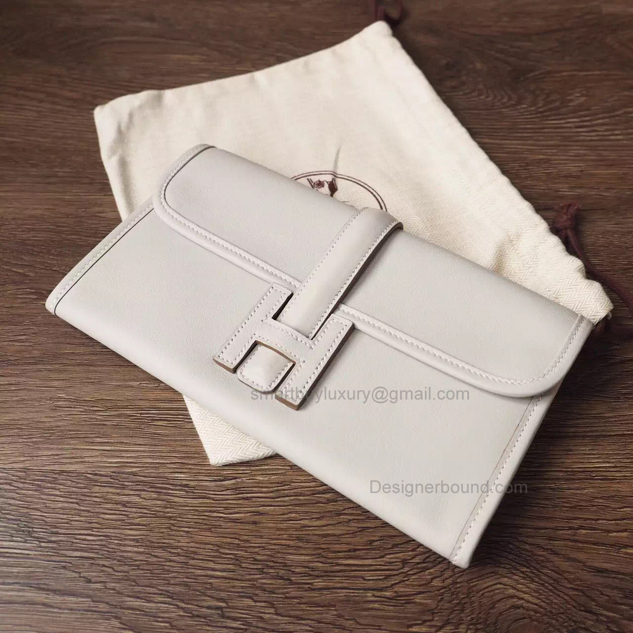 Copy Hermes Jige Duo Mini Clutch Handmade in Pearl Grey ck80 Swift Calfskin