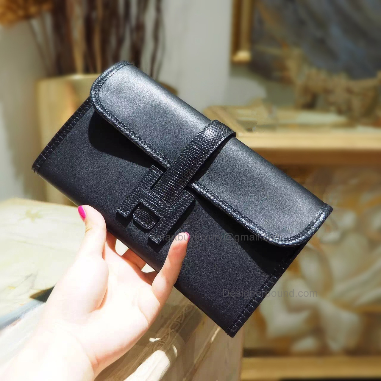 Copy Hermes Jige Duo Mini Clutch Handmade in Noir ck89 Swift and Lizard