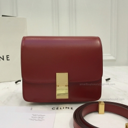 Copy Celine Small Classic Shoulder Bag in Dark Red Texture Calfskin