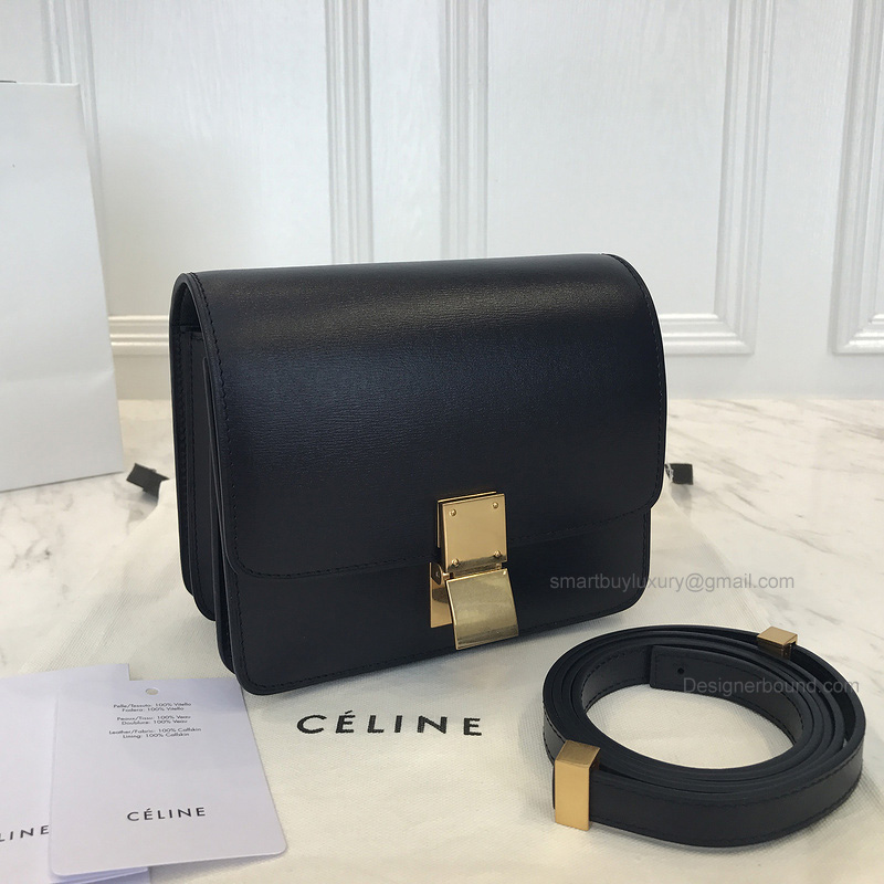 Copy Celine Small Classic Shoulder Bag in Navy Blue Texture Calfskin