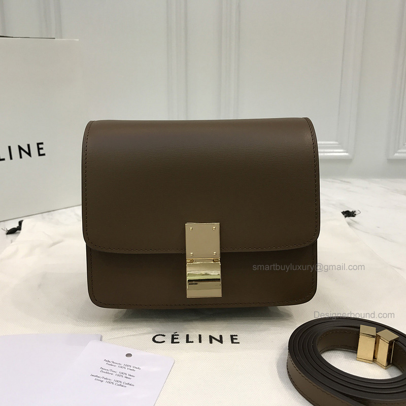 Copy Celine Small Classic Shoulder Bag in Khaki Texture Calfskin