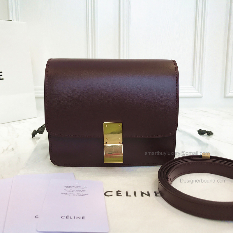 Copy Celine Small Classic Shoulder Bag in Burgundy Texture Calfskin