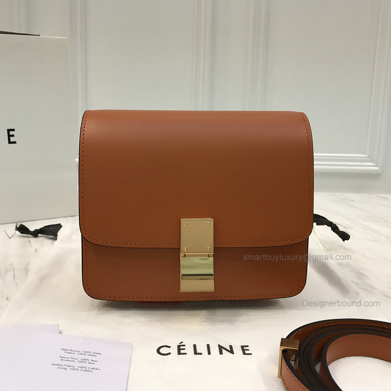 Copy Celine Small Classic Shoulder Bag in Brown Texture Calfskin