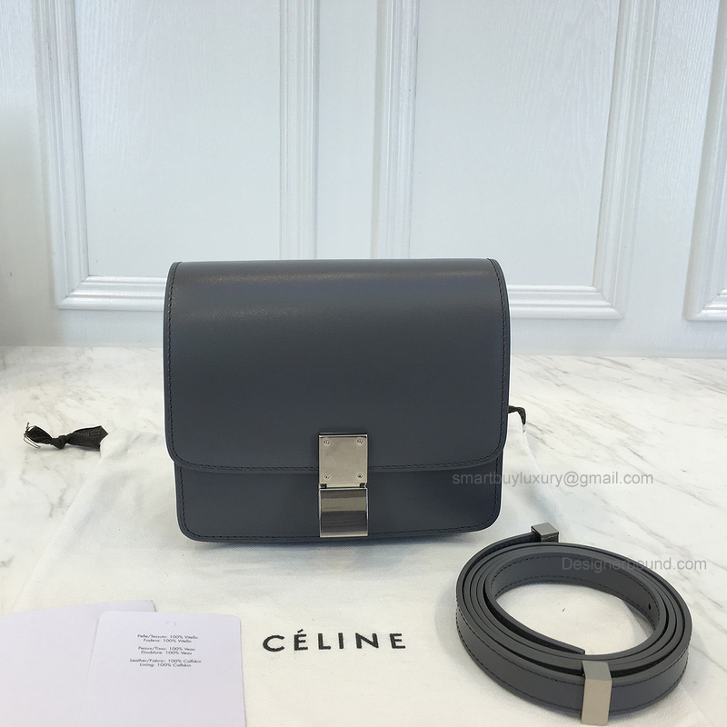 Copy Celine Small Classic Shoulder Bag in Gray Texture Calfskin