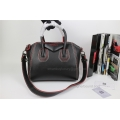 Givenchy Antigona Medium Bag in Black Lambskin with Red Piping