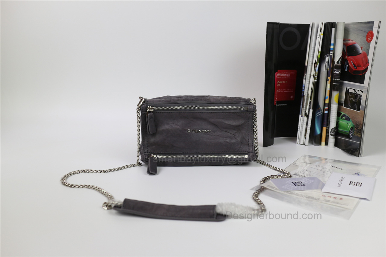 Givenchy Pepe Pandora Small Shoulder Bag in Grey Lambskin