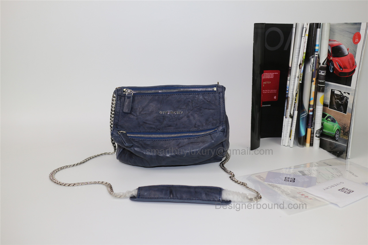 Givenchy Pepe Pandora Small Shoulder Bag in Blue Lambskin