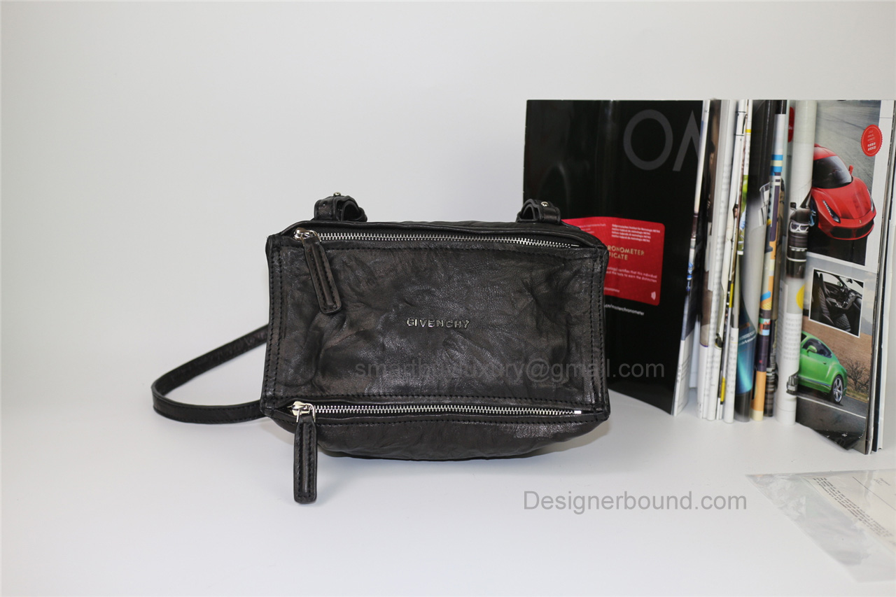 Givenchy Pepe Pandora Small Shoulder Bag in Black Lambskin