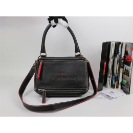 Givenchy Pandora Medium Handbag in Black Lambskin with Red Piping