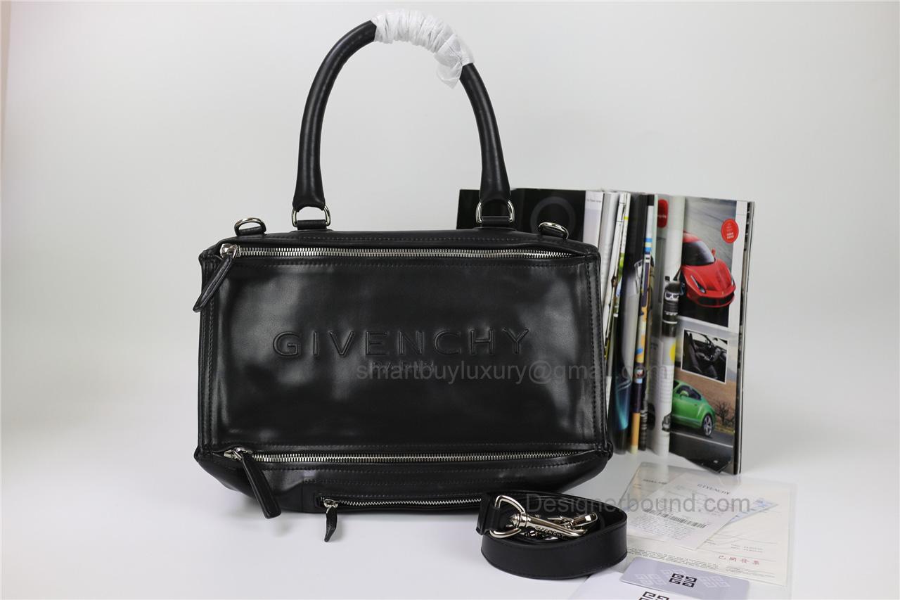 c0aba0c3537d Givenchy Pandora Large Handbag in Black Lambskin with Stamped Logo Details
