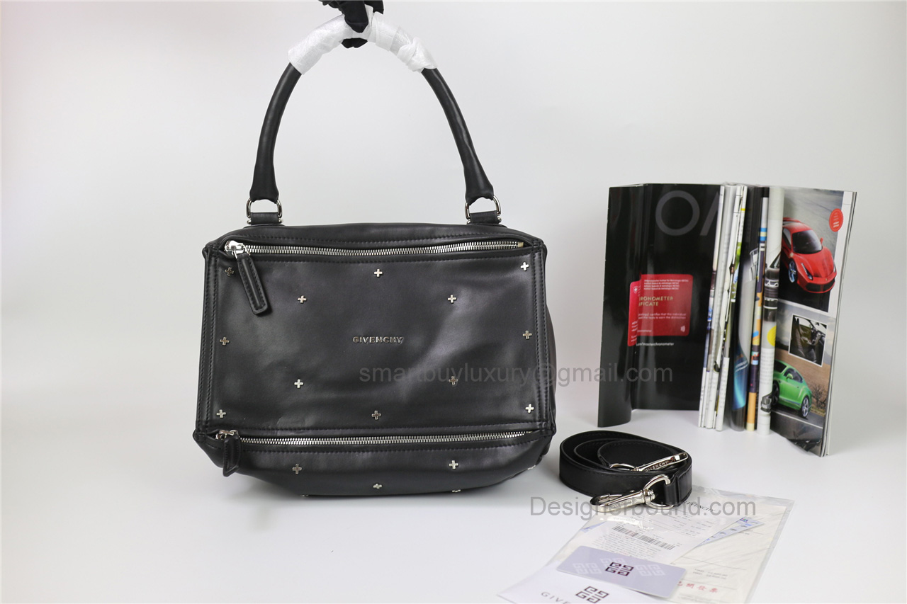 Givenchy Pandora Large Handbag in Black Lambskin with Crossstud details