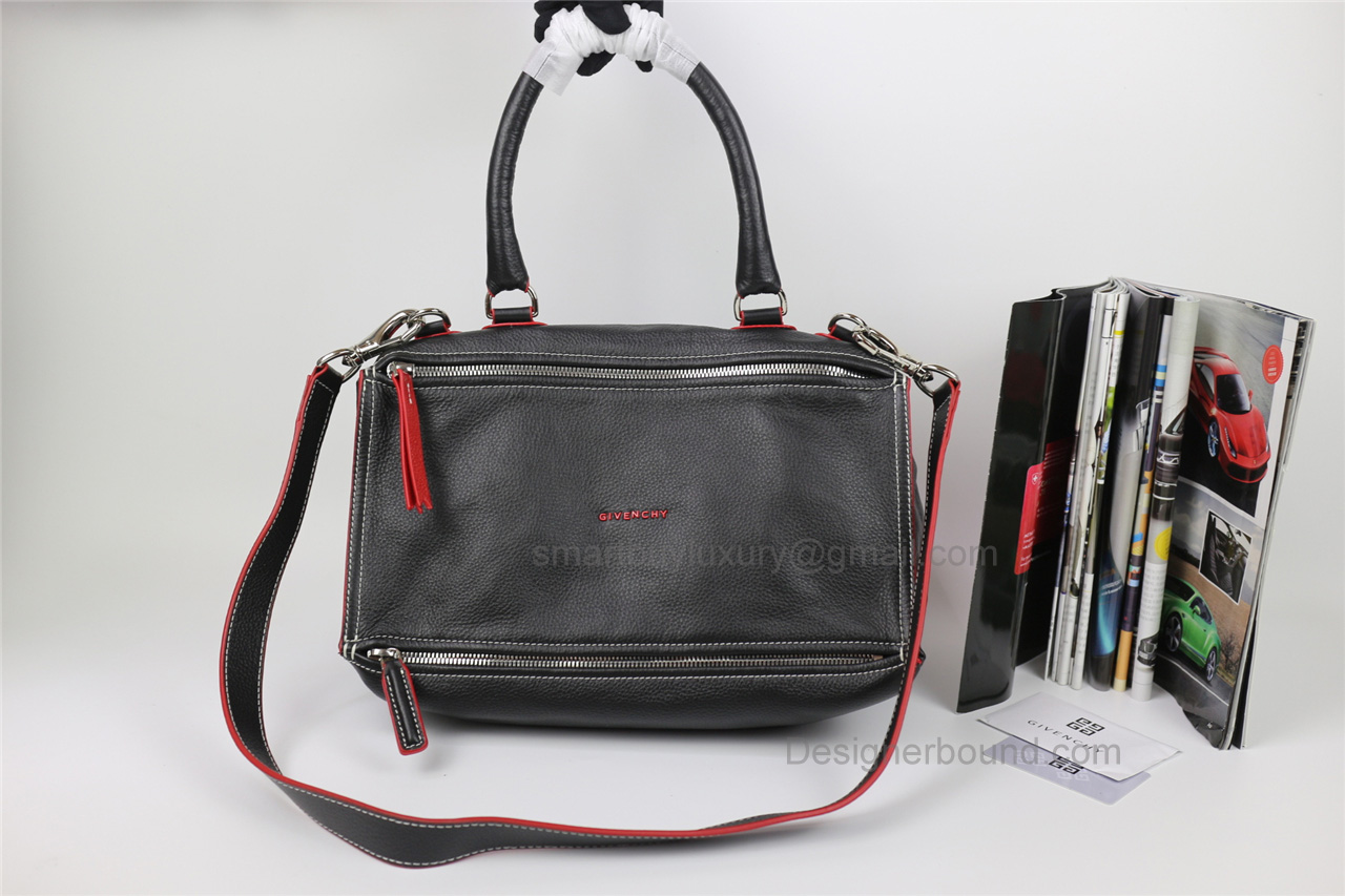 Givenchy Pandora Large Handbag in Black Lambskin with Red Piping