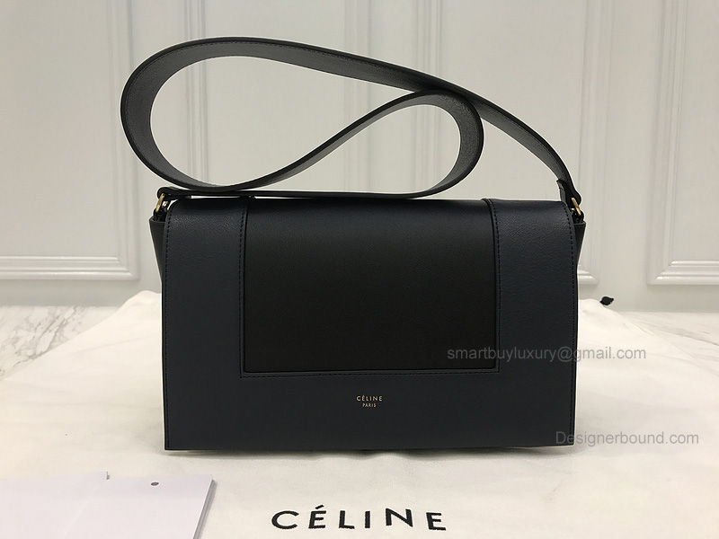Copy Celine Medium Frame Shoulder Bag in Bicolored Navy Smooth Calfskin 55f63683195b2