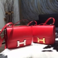 Replica Hermes Mini Constance 18 Bag Hanmade in q5 Rouge Casaque Swift Calfskin