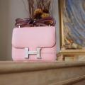 Replica Hermes Mini Constance 18 Bag in 3q Rose Sakura Swift Calfskin PHW