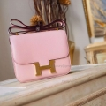 Hermes Mini Constance 18 Bag Handmade in 3q Rose Sakura Swift Calfskin GHW