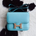 Hermes Mini Constance 18 Bag Hand Stitched in 3p Blue Atoll Swift Calfskin PHW