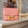 Hermes Mini Constance 18 Bag Hand Stitched in 3L Rose Tea Swift Calfskin GHW