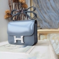 Hermes Mini Constance 18 Bag Hand Stitched in cc05 Argente Box Calfskin PHW