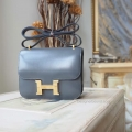 Hermes Mini Constance 18 Bag Hand Stitched in cc05 Argente Box Calfskin GHW