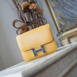 Hermes Mini Constance 18 Bag Hand Stitched in 1a Paille Box Calfskin PHW